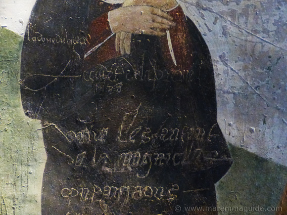 16th century graffiti in the Oratorio di San Rocco in Seggiano Maremma Tuscany.