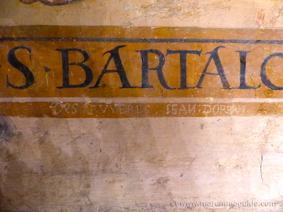 16th century graffiti on 15th century frescos in Seggiano Tuscany.