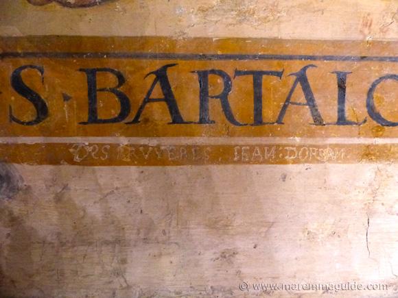 16th century graffiti on 15th century frescos in Seggiano Tuscany.