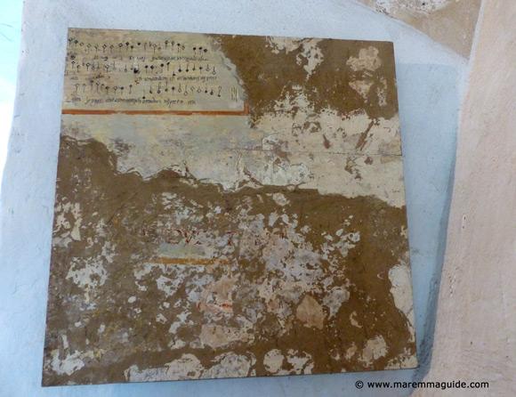 Madgrigal music score fresco in the Fortezza Orsini Sorano