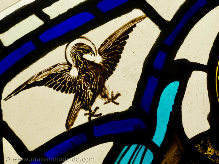 Eagle detail of Ambrogio Lorenzetti stained glass painting.
