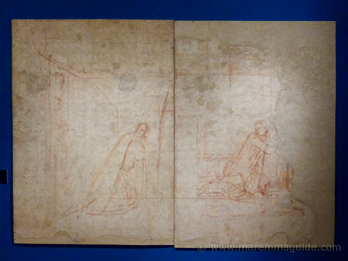 Ambrogio Lorenzetti preparatory drawing on plaster.