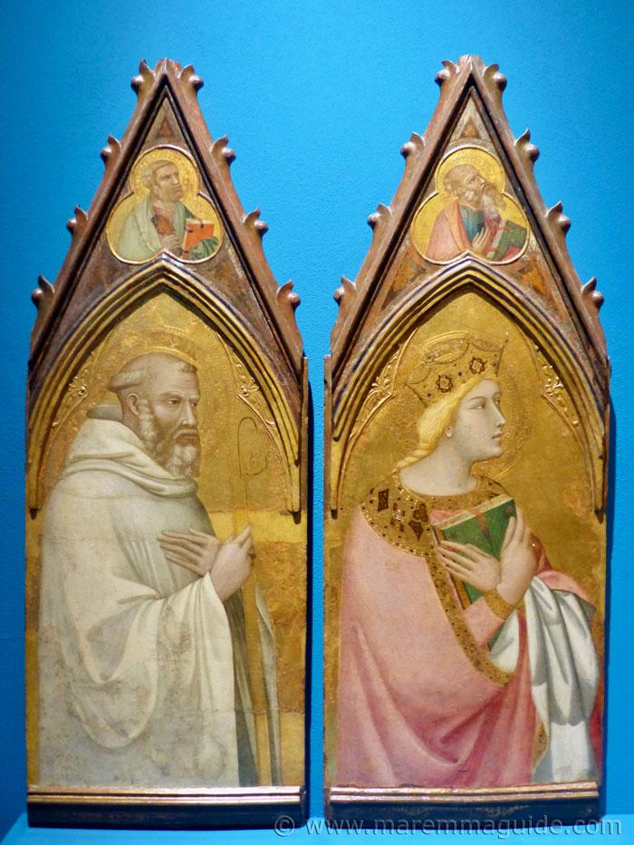 Ambrogio Lorenzetti: San Benedetto, Santa Caterina d'Alessandria, Santa Maddalena and San Francesco.