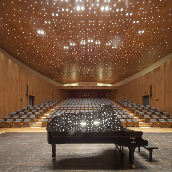 Amiato Piano Festival in Tuscany: the Fazioli grand piano F278 in the concert hall.