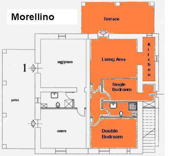 Property for sale in Tuscany: apartment floor plan.