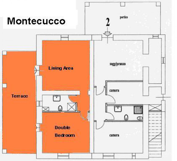 Property for sale in Tuscany: ground floor apartment plan.