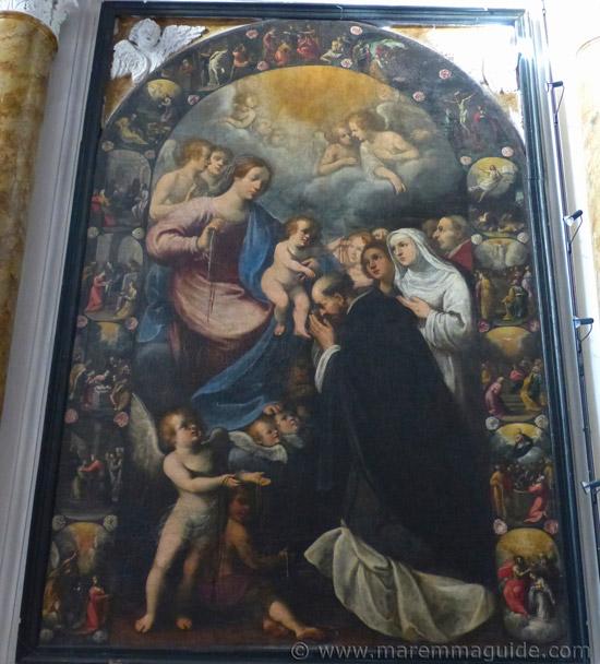 Astolfo Petrazzi Madonna del Rosario con i santi Domenico, Caterina da Siena e Carlo Borromeo in the Chiesa di San Giovanni Battista Pereta