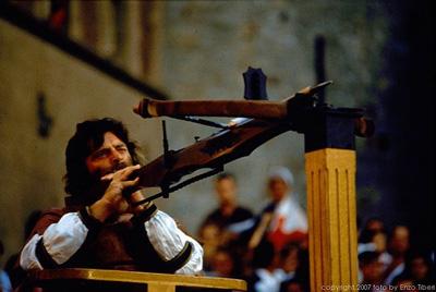 Medieval wooden crossbow and archer at the Balestro del Girifalco, Massa Marittima, Maremma
