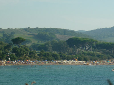Baratti beach in September viewed from Il Pozzino cove footpath, Maremma beaches Tuscany Italy