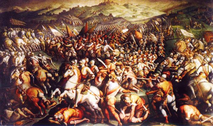 Battle of Scannagallo by Giorgio Vasari in Palazzo Veccio in Florence.