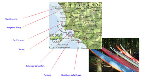 Best Maremma surf in Tuscany map