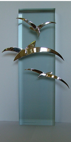 Bird metal art: handmade Italian metal art from Maremma - silver seagulls