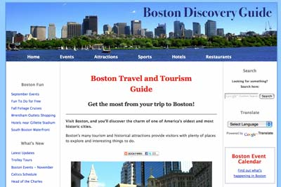 Vacation planning websites: Boston Discovery guide