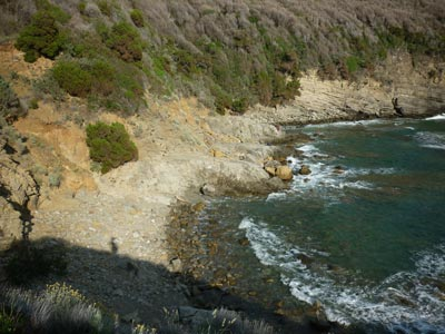 Buca delle Fate rocky shore beach in Maremma Tuscany Italy
