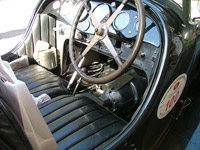 Inside front of a Bugatti car