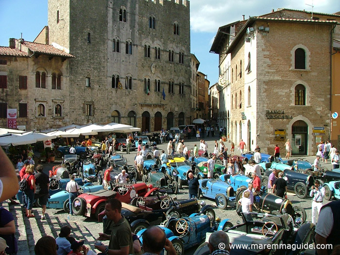 100th anniversary Bugatti car rally in Massa Marittima Tuscany Italy.
