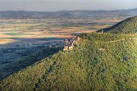 Maremma hill top village of Buriano from Vetulonia, Italy