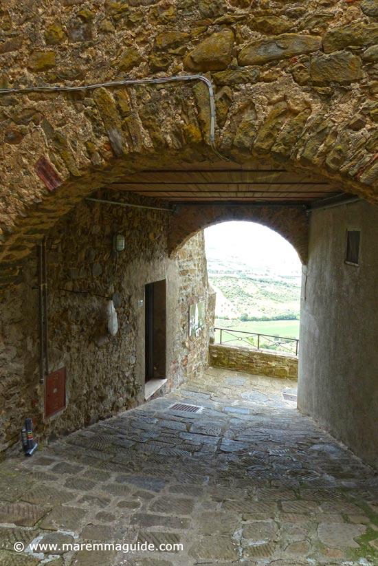 Medieval gateway into Buriano Grosseto Maremma Tuscany