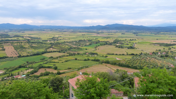View of Maremma countryside from the Tuscan hill town of Buriano.