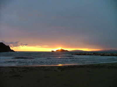 Beach sunset picture: Cala del Porto Punta Ala, Maremma