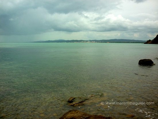 View of Follonica from Cala Terra Rossa, Maremma beaches Tuscany