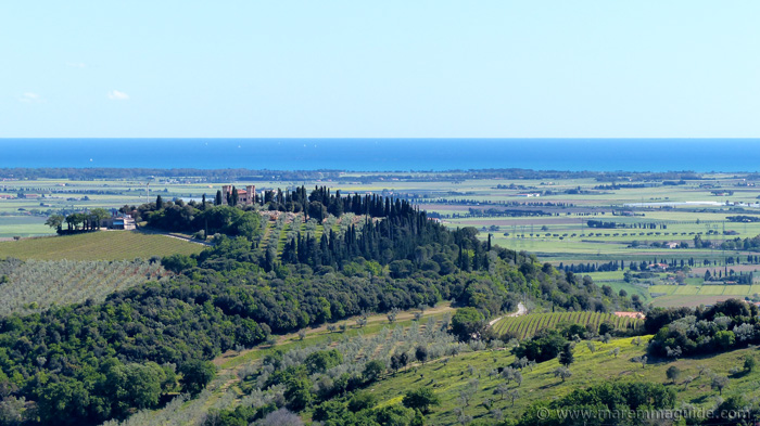 View from Campiglia Marittima Tuscany to the coast.