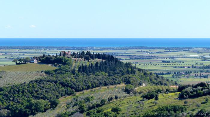 View from Campiglia Marittima Tuscany to the coast.