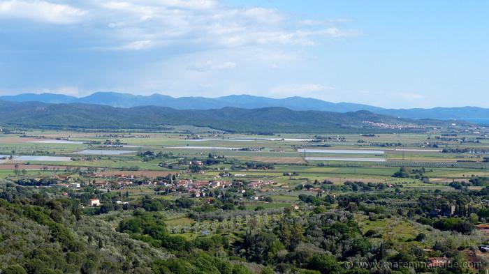 View from Campiglia Marittima to the Parco Naturale di Montioni and the Bandite di Scarlino.