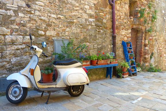 Campiglia Marittima garden with Italian scooter