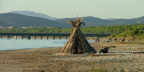 Camping at the beach at Puntone di Scarlino beach in Maremma, Tuscany Italy