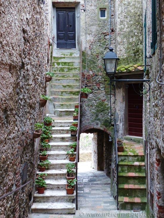 Capalbio Italy: medieval alleyway.