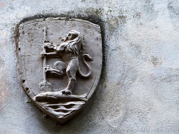 Siena sea-lion coat of arms in Capalbio Italy.