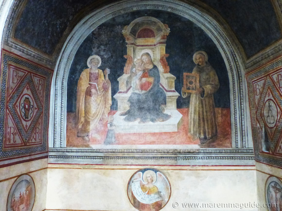14th century fresco in side the Chiesa di San Nicola Capalbio.
