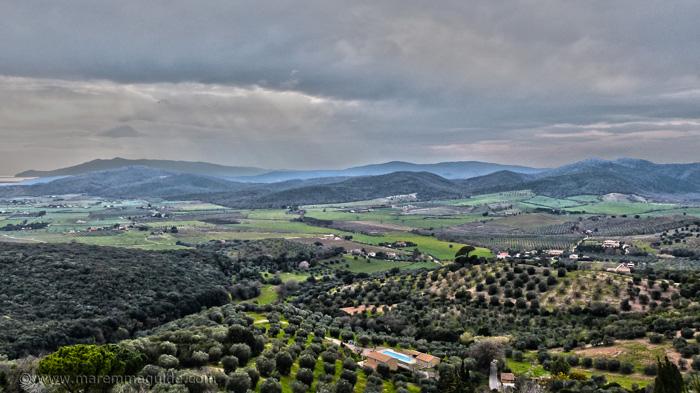 Panoramic view to Monte Argentario from Capalbio Italy.