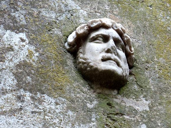 Marble portrait of Roman Emperor Publius Aelius Traianus Hadrianus in Capalbio above the entrance to the Arco Santo.