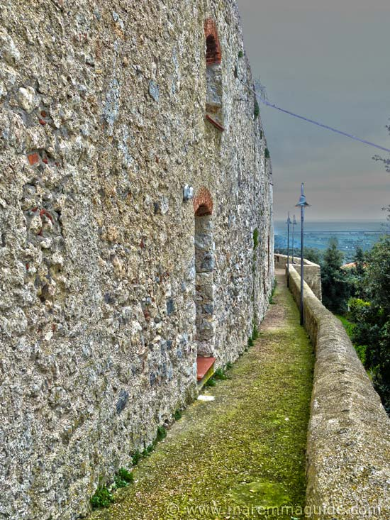 The medieval city wall chemin de ronde in Capalbio Italy.