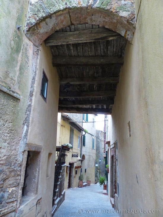 Capalbio Tuscany Italy medieval street.