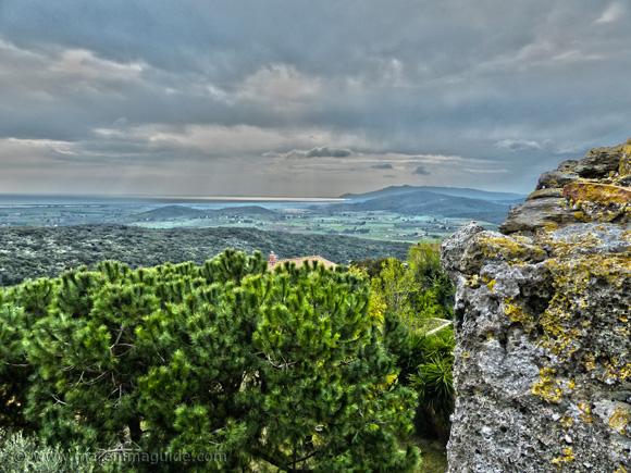 View from Capalbio Tuscany Italy to Maremma's coast.