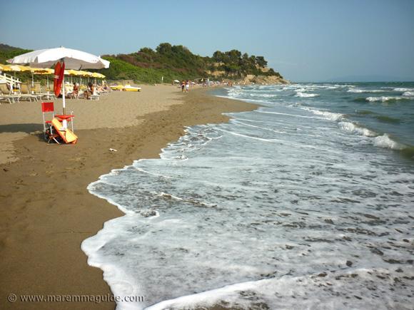 Capezzole beach Castiglione della Pescaia in September.