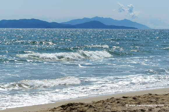 View of Isola d'Elba from Carbonifera beach Tuscany