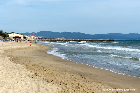 Carbonifera spiaggia with the town of Follonica and the Bandite di Scarlino in the far distance