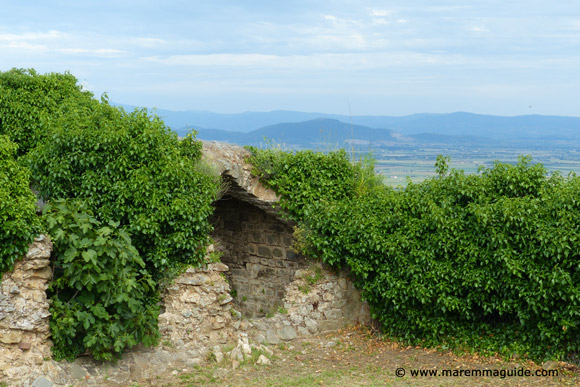 Castello di Buriano and panoramic view of the ancient Prile Lake, Maremma Tuscany