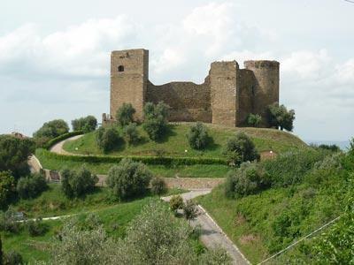 The middle ages castle of Castello di Scarlino, also known as La Rocca Pisana or La Rocca Aldobrandesca