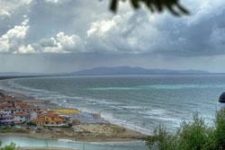 Weather in Tuscany: stormy sea at Castiglione della Pescaia in Maremma