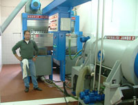 The cold press extraction machine at Frantoio Stanghellini, Valpiana