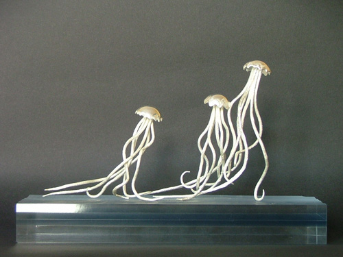 Contemporary Italian sculptures: silver jellyfish