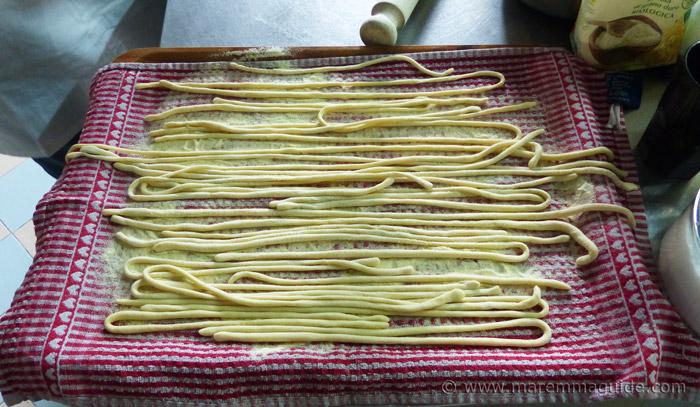 Homemade pici pasta.