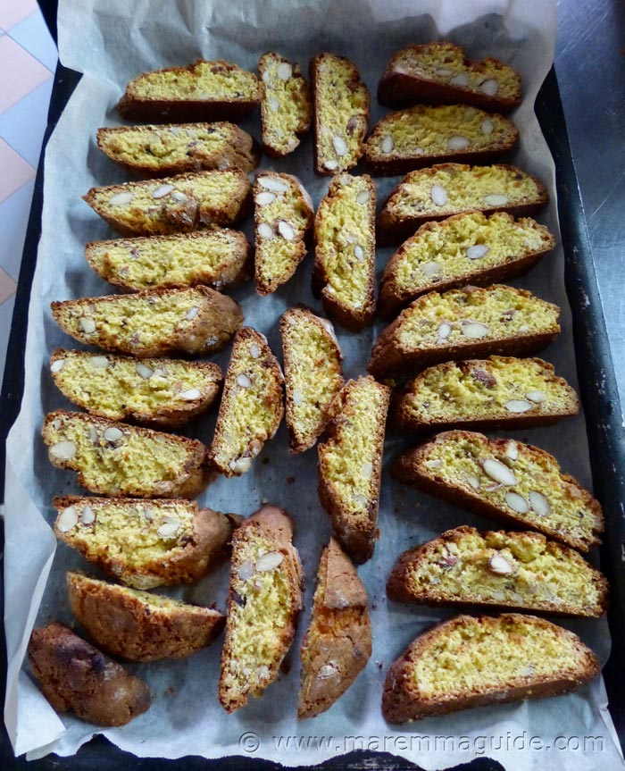 Cooking Italian almond cookies: Cantucci biscuits.