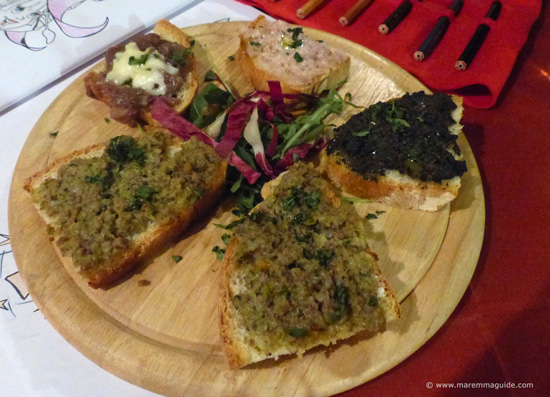 Costini misti - Tuscany starter of toasted Tuscan bread with mixed toppings