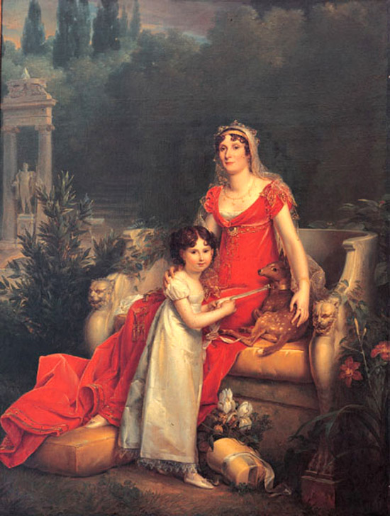 Elisa Bonaparte with her daughter Elisa in the Giardini di Boboli Firenze painted by Francois Gerard